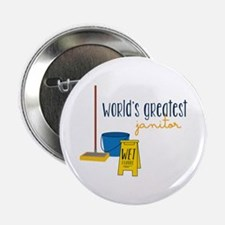 """World's greatest janitor 2.25"""" Button"""