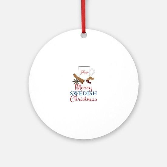 Merry Swedish Christmas Ornament (Round)