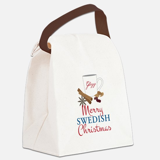 Merry Swedish Christmas Canvas Lunch Bag
