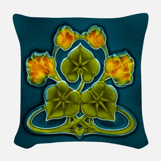 Woven Throw Pillow With Art Nouveau Yellow Flowers