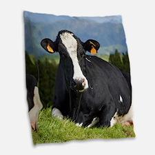 Holstein cow Burlap Throw Pillow