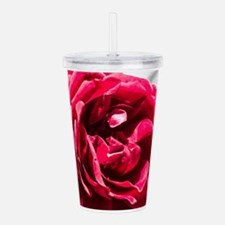 Red Rose on B/W Acrylic Double-wall Tumbler