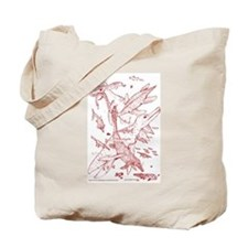 Ancient Waters Tote Bag Red Sepia Print