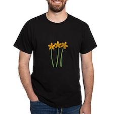 Sunny Orange Tropical Green Flowers T-Shirt