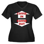 Coffee In Co Women's Plus Size V-Neck Dark T-Shirt