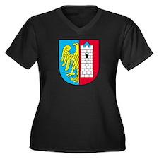 Shield With Women's Plus Size V-Neck Dark T-Shirt