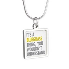 Its A Bluegrass Thing Silver Square Necklace