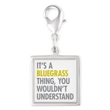 Its A Bluegrass Thing Silver Square Charm