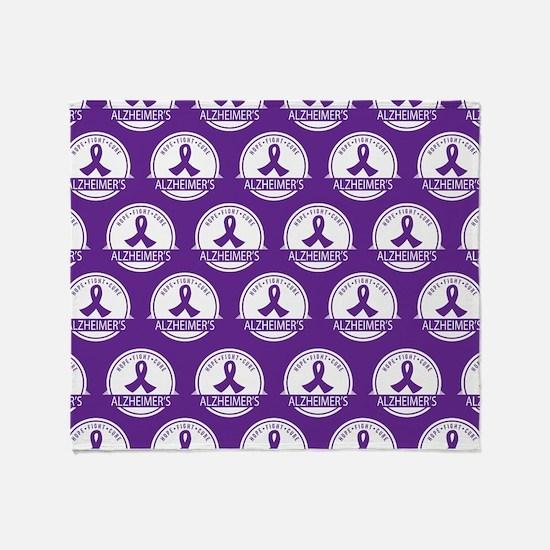 Alzheimer's Purple Ribbon Throw Blanket