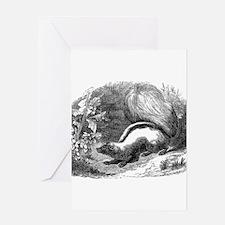 Vintage Skunks Illustration - 1800s Skunk Greeting