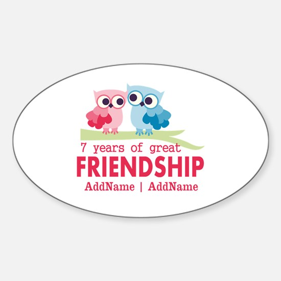 7th Anniversary Couple Gift Persona Sticker (Oval)