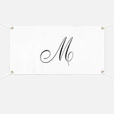 M Initial Black Script Banner