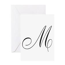 M Initial Black Script Greeting Cards