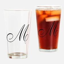 M Initial Black Script Drinking Glass