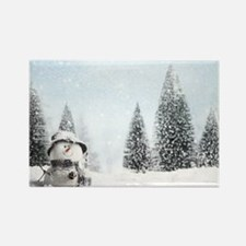 christmas snowman Rectangle Magnet