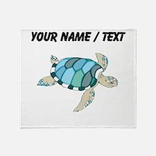 Custom Blue Sea Turtle Throw Blanket