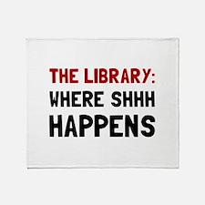 Library Shhh Happens Throw Blanket