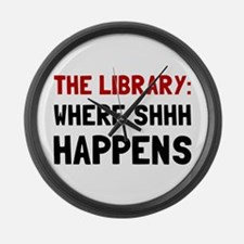 Library Shhh Happens Large Wall Clock