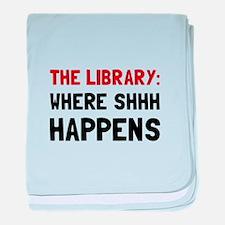 Library Shhh Happens baby blanket