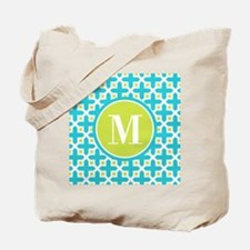 Monogram Cross Pattern Turquoise and Lime Tote Bag