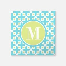 Monogram Cross Pattern Turquoise and Lime Sticker