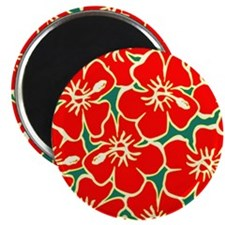 Red Hibiscus Hawaiian Flowers Magnets