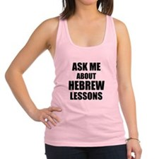 Ask me about Hebrew lessons Racerback Tank Top
