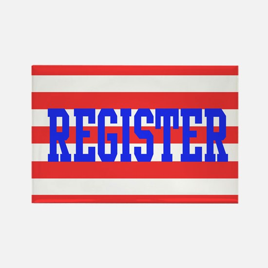 Red and White Stripes with Blue Text REGISTER Magn