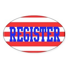Red and White Stripes with Blue Text REGISTER Stic