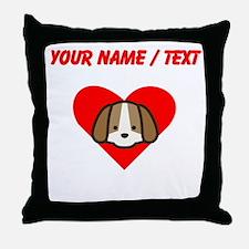 Custom Puppy Heart Throw Pillow