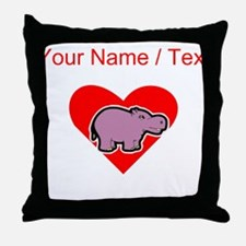 Custom Hippo Heart Throw Pillow
