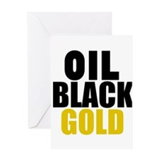 Oil Black Gold Greeting Cards