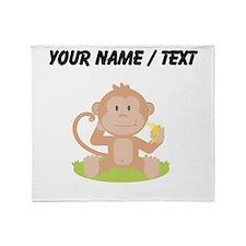 Custom Monkey Eating Banana Throw Blanket