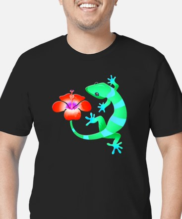 Blue and Green Jungle Lizard with Orange H T-Shirt