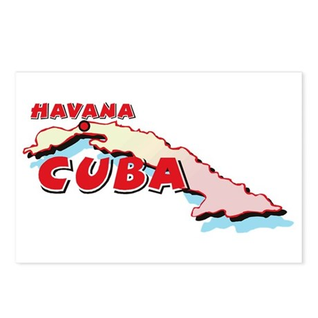 Cuba Map Postcards (Package of 8)