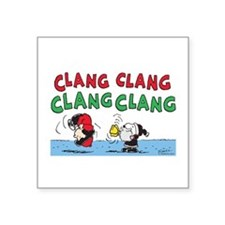 "Snoopy and Lucy Christmas Square Sticker 3"" x 3"""