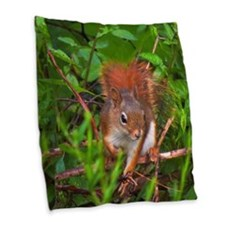 Red Squirrel Burlap Throw Pillow