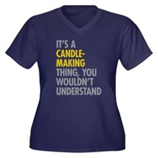 Its A Candle Women's Plus Size V-Neck Dark T-Shirt