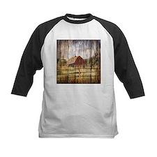 farm red barn wood texture Baseball Jersey