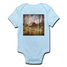 farm red barn wood texture Body Suit