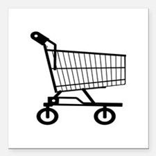 "Shopping Cart Square Car Magnet 3"" x 3"""