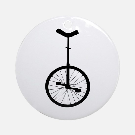 Black Unicycle Ornament (Round)