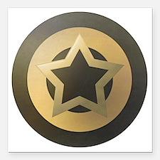 "Bronze Star Sheild Square Car Magnet 3"" x 3"""