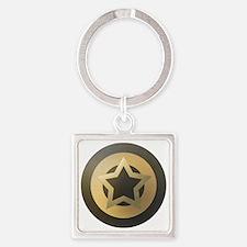 Bronze Star Sheild Square Keychain