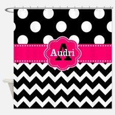 Black Pink Dots Chevron Personalized Shower Curtai