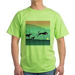 Dogs Chasing Ball Green T-Shirt