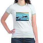 Dogs Chasing Ball Jr. Ringer T-Shirt