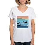 Dogs Chasing Ball Women's V-Neck T-Shirt