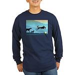 Dogs Chasing Ball Long Sleeve Dark T-Shirt