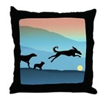 Dogs Chasing Ball Throw Pillow